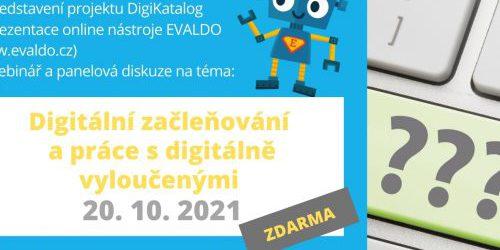 Online setkání v rámci roadshow projektu DigiKatalog s webinářem na téma Digitální začleňování a práce s digitálně vyloučenými (20.10.)